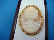 GIOVANNI APA VINTAGE CAMEO BROOCH-PENDANT IN 14K GOLD FRAME 8 GRAMS 40x31 MM