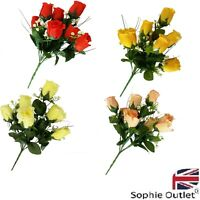 Artificial 7 Heads Silk Rose Flower Bouquet Wedding Home Decor Mothers Day Gift