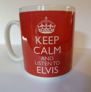 Keep Calm and Listen To Elvis Mug Carry On Retro Gift Present Cup Elvis Presley