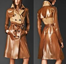 BURBERRY PRORSUM Gabardine Cotton Honey Rubber Trench Coat Gold Accents $2795 40