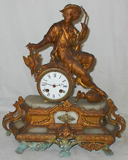 Antique GILT Figural MANTEL CLOCK Hunter & Game With CHIME Japy Freres LARGE