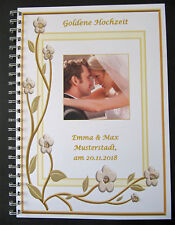 Festzeitung Goldene Hochzeit Goldhochzeit Geschenk # 3D-Blume m. Bild des Paares
