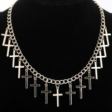 Vintage Choker Pendant Gold Filled Chain Necklace Gothic Punk Cross Jewelry