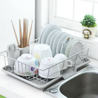 UKLarge Dish Drainer Metal Wire Cutlery Draining Holder Plate Rack Kitchen Sink
