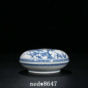 "5.1"" Republic China Antique dynasty Porcelain Blue white Plum blossom bamboo Box"