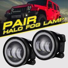 "2X4""inch Round LED Fog Lights Halo Angel Driving Lamp for JK Jeep Wrangler 07-16"