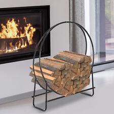 HOMCOM Firewood Log Rack Steel Storage Stand Holder Hoop Black 102 x 40 x 114 cm