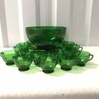 Vintage Anchor Hocking Forest Green Glass Complete Punch Bowl Set Base & 15 Cups