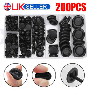 200PCS Assorted Size Rubber Blanking Grommets Open/Closed Blind Plug Wiring Bung