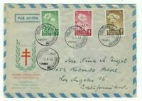 1949 Helsinki Finland Airmail FDC to Los Angeles CA, Tuberculosis #B98-B100