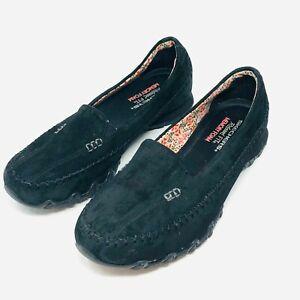 Skechers 48930 Black Relaxed Fit Memory Foam Bikers Pedestrian Womens Size 8