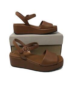Camper BROWN Misia Platform Wedge Sandal, Size 8