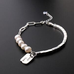 D08 Bracelet Asymmetrical Cuboid Angular Freshwater Pearls Anchor Chain 925