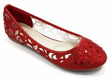 Women Shoes Ballet Flat Shoes Lace Rhinestone Flat Loafer Casual Shoes - Red