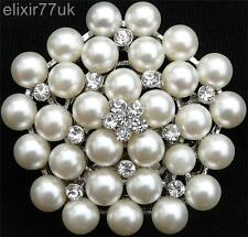 NEW LARGE GOLD OR SILVER TONE WHITE FAUX PEARL RHINESTONE CRYSTAL FLOWER BROOCH