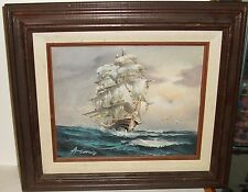 AMBROSE OIL ON CANVAS SAILING SHIP AT SEA PAINTING