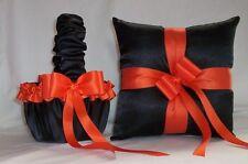 BLACK SATIN / ORANGE TRIM FLOWER GIRL BASKET & RING BEARER PILLOW