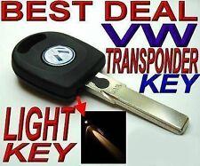NEW UNCUT LED CHIP KEY FOR VW Volkswagen VIRGIN IMMOBILIZER TRANSPONDER RFID