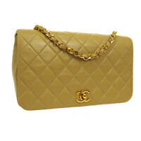 CHANEL Quilted CC Full Flap Single Chain Shoulder Bag Beige Leather RK14244f