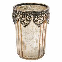 Windlicht Teelichthalter Kerzenständer Glas Ornament Shabby Ø7xH10cm Clayre&Eef