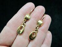 Vintage-Gold Tone Dangle Lever Back Pierced Earrings