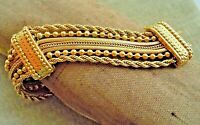 Vintage Victorian Revival MONET, 7 Chain Wide Gold Tone Bracelet, Estate Lot