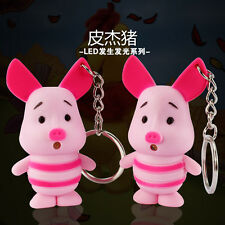 Cartoon cute pig Light Up LED Torch With sound Keyrings KeyChain TOYS UKYS125