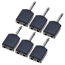 6pcs Mono  1/4Y Splitter Audio Adapter Splitter 6.35 Male Jack to 2Female 6.35