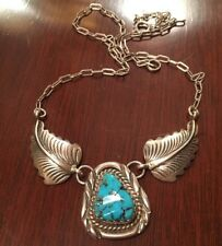 New listing Vintage Navajo Signed Jh Sterling Silver & Turquoise Hand Made Necklace