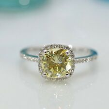2Ct Cushion Synt Canary Yellow Diamond Halo Engagement Ring White Gold FN Silver
