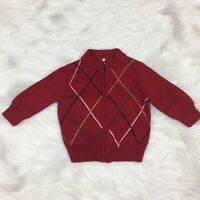Gymboree Baby Boys Cardigan Sweater Size 6-12 Months Zipper Christmas Red Argyle