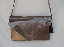 New Women's Ohh Ashley Genuine Leather Ohh Ashley Double Flap Clutch Pewter