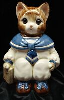 Vintage Sailor Cat Cookie Jar Japan Glass Eyes Mervyns