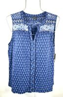 Lucky Brand Women's Spring Blue Flower Sleeveless Top Blouse T-shirt L NWT