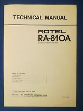 ROTEL RA-810A INTEGRATED AMP TECHNICAL SERVICE MANUAL FACTORY ORIGINAL