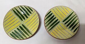 """Pair Of Green And Yellow Striped Stangl Pottery Plates 5 1/4"""""""