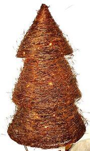 2 x Beleuchteter Baum Weidebaum Weihnachtsbaum Weide mit Lichterkette Natur 50cm