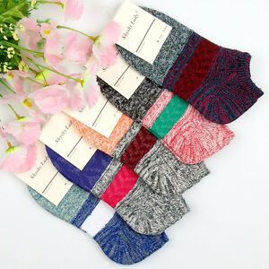 5 Pairs Ladys Womens Cotton Socks Lot Crew Low Cut Retro Casual Dress Ankle Sock