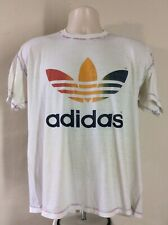 Vtg 80s Adidas Rainbow Trefoil T-Shirt White XL Exposed Stitching Inside Out