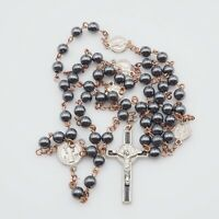 Vintage Estate Silver Tone Black Enamel Metal And  6mm Hematite Bead Rosary