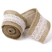 "White Lace Hessian Burlap Ribbon Roll Rustic Wedding XMas DIY Decor 2""x2M"