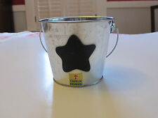 """Tin Pail. 3.5"""". Chalkboard Star on Side. Useful and Cute. New."""