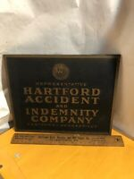Vintage Hartford Accident & Indemnity Company Plastic PLAQUE Sign 13""