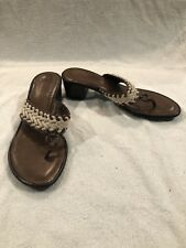"""COLE HAAN Brown Sandals with 1.5"""" Heels Size 10 Preowned Leather Shoes"""