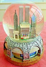 Bloomingdales New York City Twin Towers Skyline PRE 9/11 Music Motion Snow Globe
