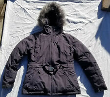 The North Face Women's Greenland Jacket Graphite Gray Down Fur Hood Gently Used
