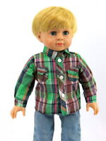 """Green And Brown Plaid Dress Shirt Fits American Girl or Boy 18"""" Doll Clothes"""