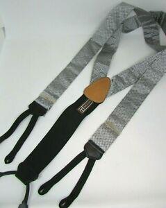 Men's TRAFALGAR Silk & Leather Suspenders Braces, Silver & Black, USA