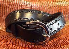 Belt Hand-Tooled Black Dad Old West Custom Leather Chopper Biker Hunting