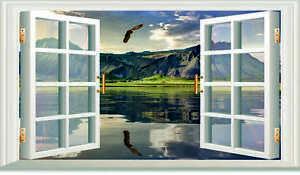 3D OPEN WINDOW HAWK MOUNTAIN WALL ART STICKER  RV CAMPER DECAL CARAVAN 3 SIZES